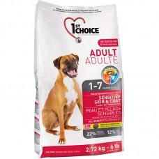 1ST CHOICE ADULT MAINTENANCE SENSITIVE SKIN & COAT 2.72kg 4bags/outer